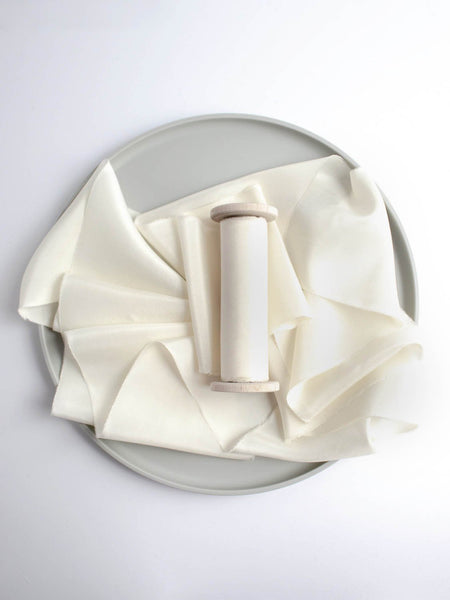 Cream Naturally Dyed Habotai Off White Silk Ribbon Wedding Ribbon The Lesser Bear