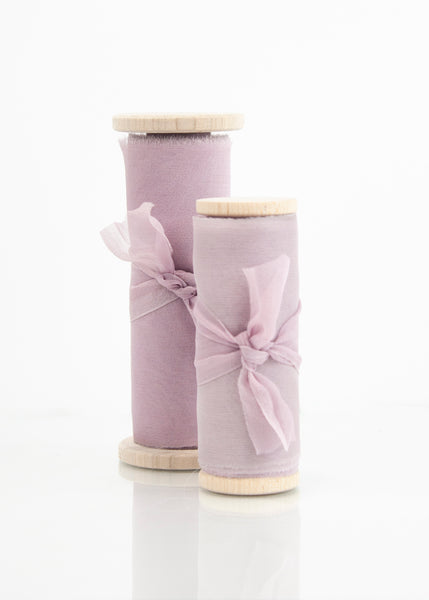 Dawn purple silk gauze ribbon with subtle pink tones naturally dyed by The Lesser Bear