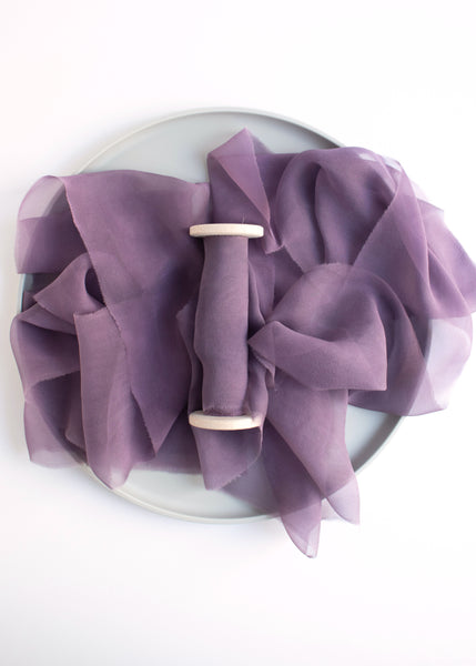 Purple Deep Violet Silk Gauze Ribbon Naturally Dyed Hand Dyed by The Lesser Bear