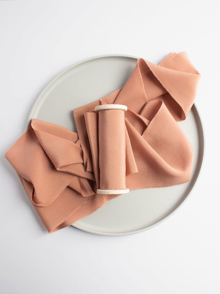 Fawn Crepe de Chine Silk Ribbon from The Lesser Bear