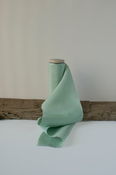 Naturally Dyed Gossamer Green Silk Taffeta Ribbon. Hand dyed by The Lesser Bear