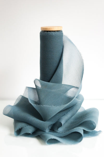 Naturally Dyed Dusty Blue Silk Ribbon, Botanically Dyed, Hand Dyed by The Lesser Bear