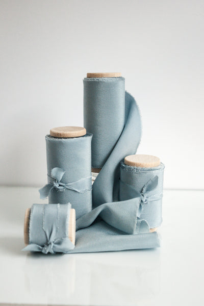 Blue Bell Crepe de Chine Silk Ribbon - The Lesser Bear
