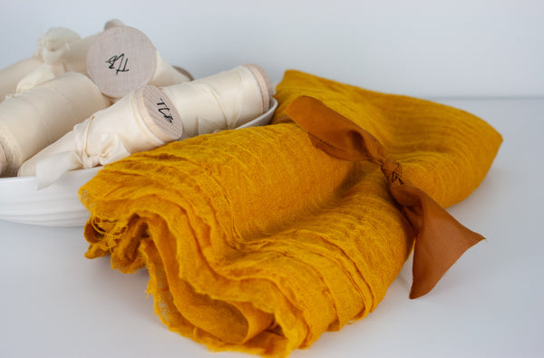 Saffron Wool Gauze Cloth Runner/Styling Cloth from The Lesser Bear