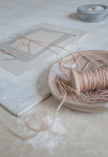 Rose Quartz Pink and Blush Hand Spun Flax Twine Naturally Dyed by The Lesser Bear