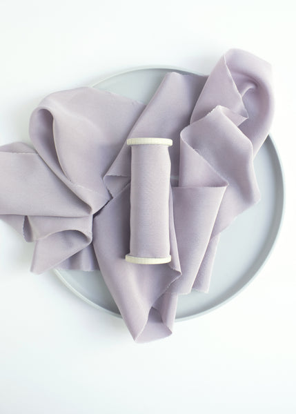 Light Purple Lavender Crepe de Chine Silk Ribbon Naturally Dyed Hand Dyed by The Lesser Bear