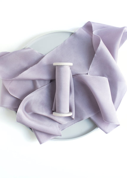 Lavender Habotai Silk Ribbon Naturally Dyed Hand Dyed by The Lesser Bear