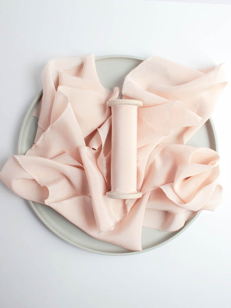 Lily Pink Naturally Dyed Crepe de Chine Light Pink Silk Ribbon Wedding Ribbon The Lesser Bear