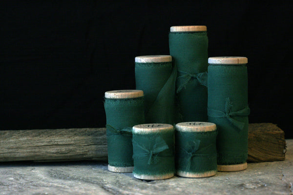 Naturally Dyed Green Silk Gauze Ribbon. Hand Dyed by The Lesser Bear