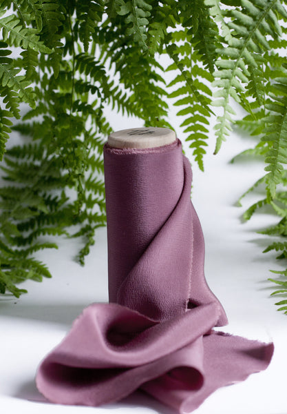 Merlot Crepe de Chine Silk Ribbon - The Lesser Bear