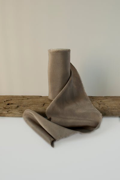 Moon Mist Naturally Dyed Warm Grey Brown Silk Crepe de Chine Ribbon. Hand Dyed by The Lesser Bear