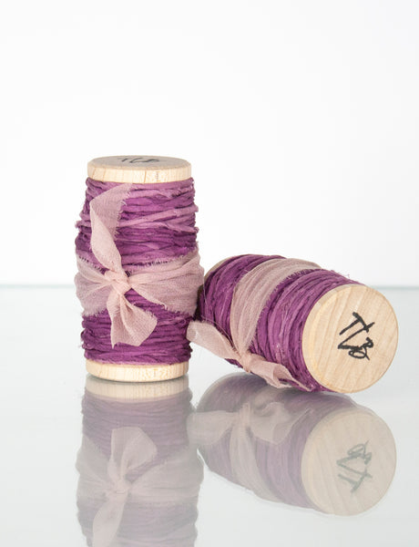Mottled Purple Spun Silk Ribbon Twine from The Lesser Bear