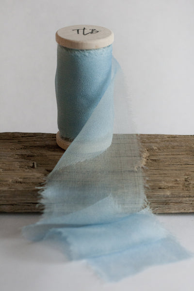 Naturally dyed ombre blue silk gauze ribbon. Hand dye by The Lesser Bear