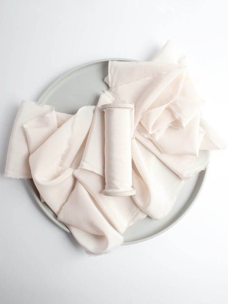 Petal Naturally Dyed Crepe de Chine Light Pink Silk Ribbon Wedding Ribbon The Lesser Bear