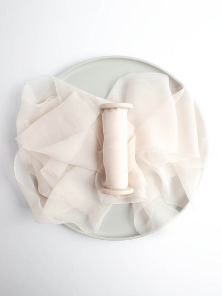 Petal Pink Silk Gauze Ribbon from The Lesser Bear