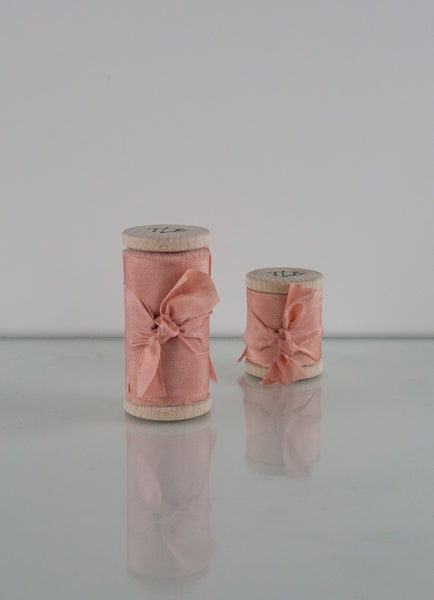 Peach Pearl Habotai Silk Ribbon - The Lesser Bear