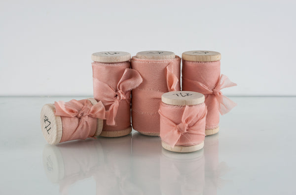 Peach Pearl Crepe de Chine Silk Ribbon - The Lesser Bear