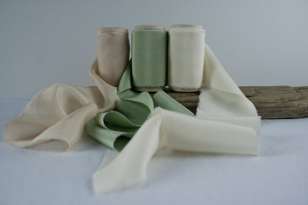 Naturally Dyed Sage Green Crepe de Chine Silk Ribbon, Hand dyed by The Lesser Bear