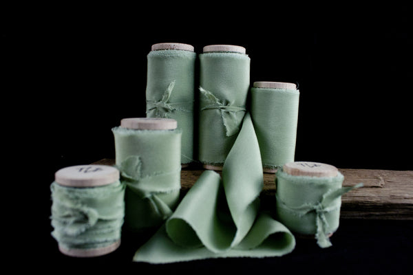 Sage Crepe de Chine Silk Ribbon from The Lesser Bear