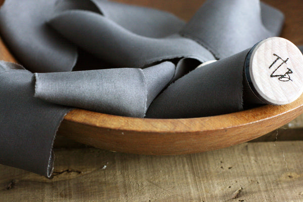 Slate Grey Habotai Silk Ribbon from The Lesser Bear