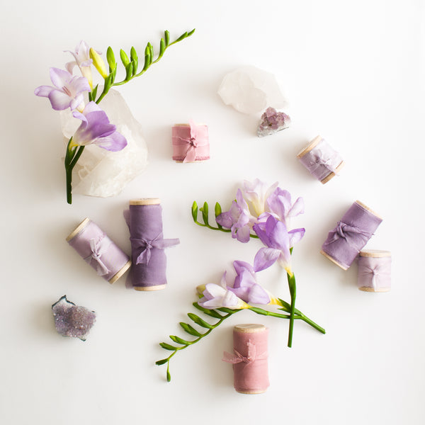 Lilac Habotai Silk Ribbon - The Lesser Bear