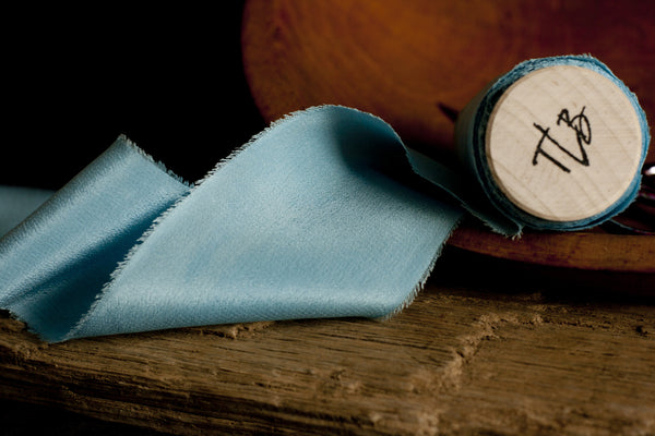 Naturally Dyed Blue Grotto Crepe de Chine Silk Ribbon - The Lesser Bear