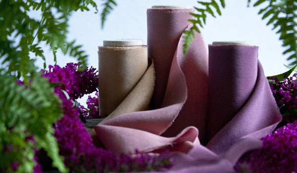 Naturally dyed merlot, purple pink crepe de chine silk ribbon, hand dyed by The Lesser Bear