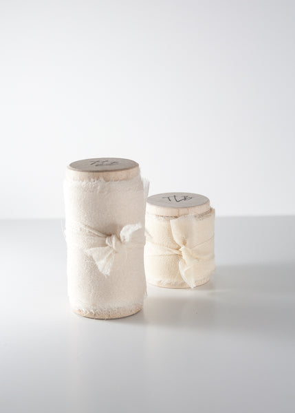 Antiqued White Silk Gauze Ribbon - The Lesser Bear