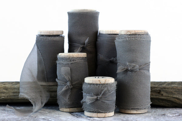 Slate Grey Silk Gauze Ribbon - The Lesser Bear