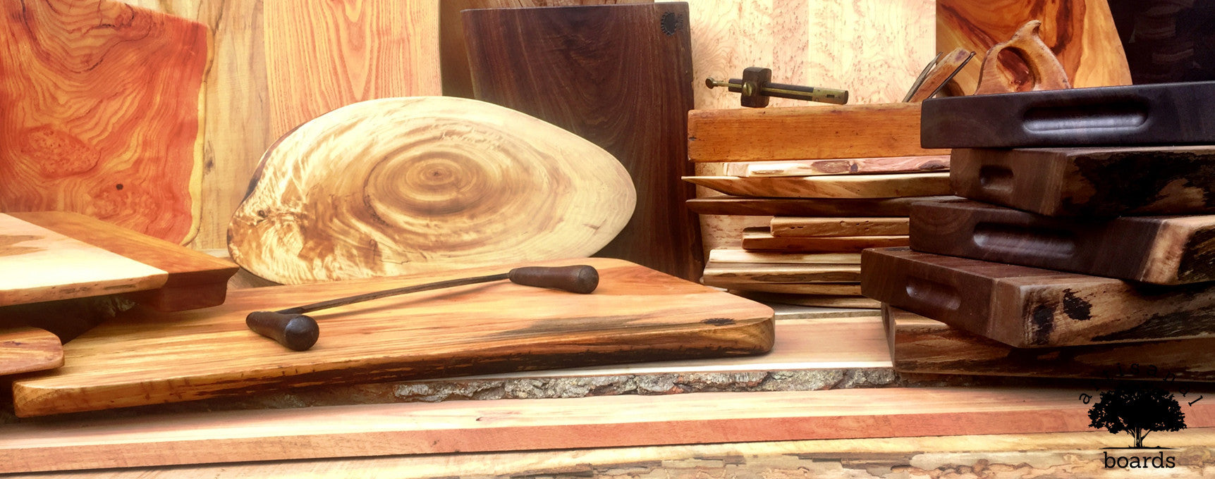 Live edge cutting boards and serving trays
