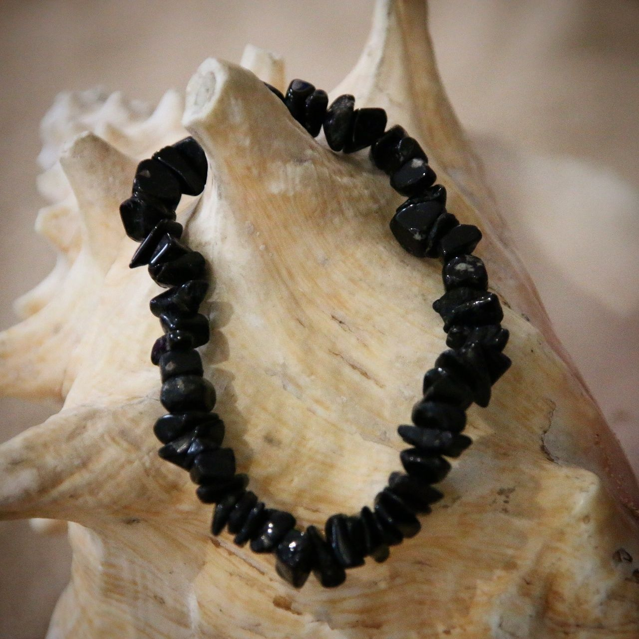 Crystal Chip Gem Bracelets - Quality  Elasticated Bracelets Obsidian