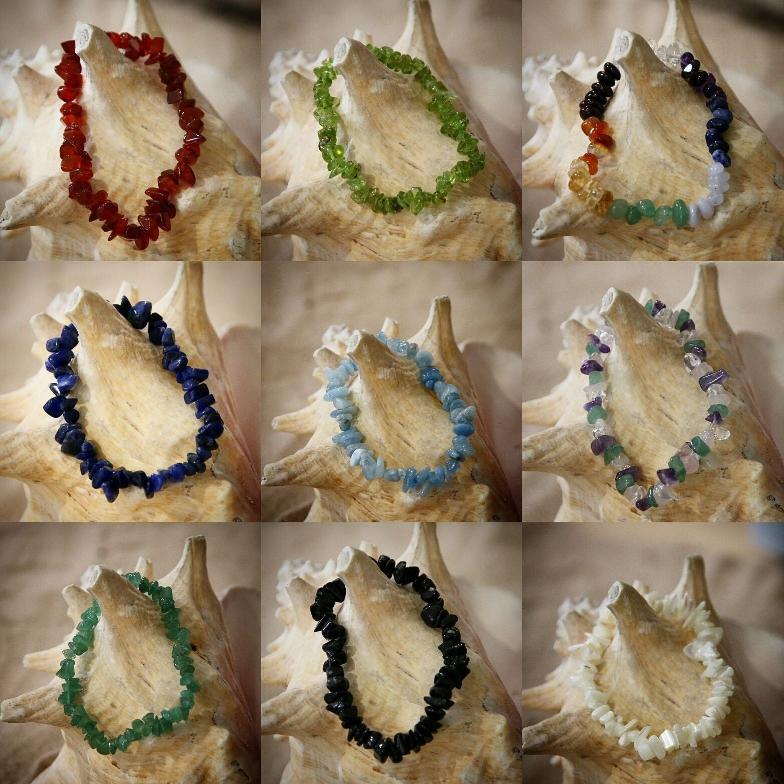 Crystal Chip Gem Bracelets - Quality  Elasticated Bracelets Goldstone