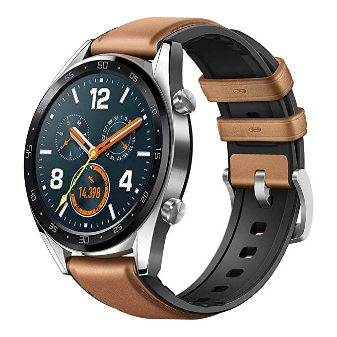 Watch GT stainless steel/saddle brown leather silicone