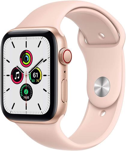 New Apple Watch SE (GPS + Cellular, 44mm) - Gold Aluminum Case with Pink Sand Sport Band-Let's Talk Deals!