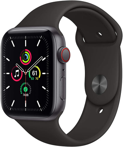 New Apple Watch SE (GPS + Cellular, 44mm) - Space Gray Aluminum Case with Black Sport Band-Let's Talk Deals!