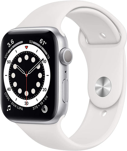 New Apple Watch Series 6 (GPS, 44mm) - Silver Aluminum Case with White Sport Band-Let's Talk Deals!