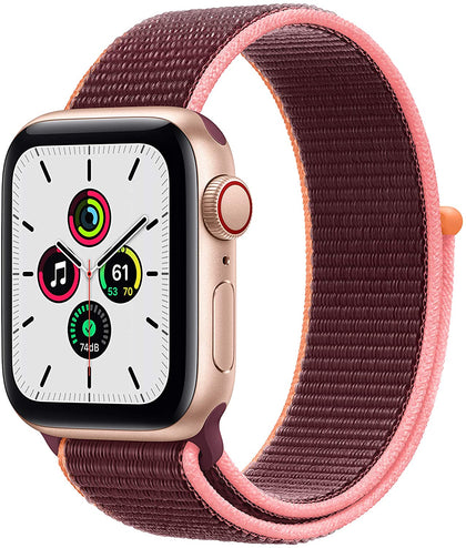 New Apple Watch SE (GPS + Cellular, 40mm) - Gold Aluminum Case with Plum Sport Loop-Let's Talk Deals!