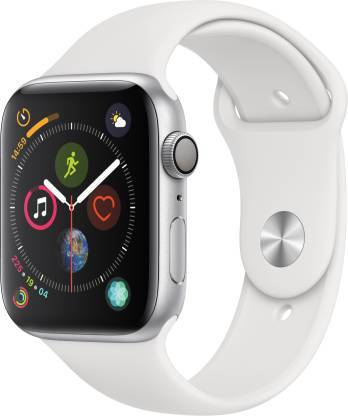 Apple Watch Series 4 (44 mm) GPS+Cellular Silver Aluminium Case with White Sport Band