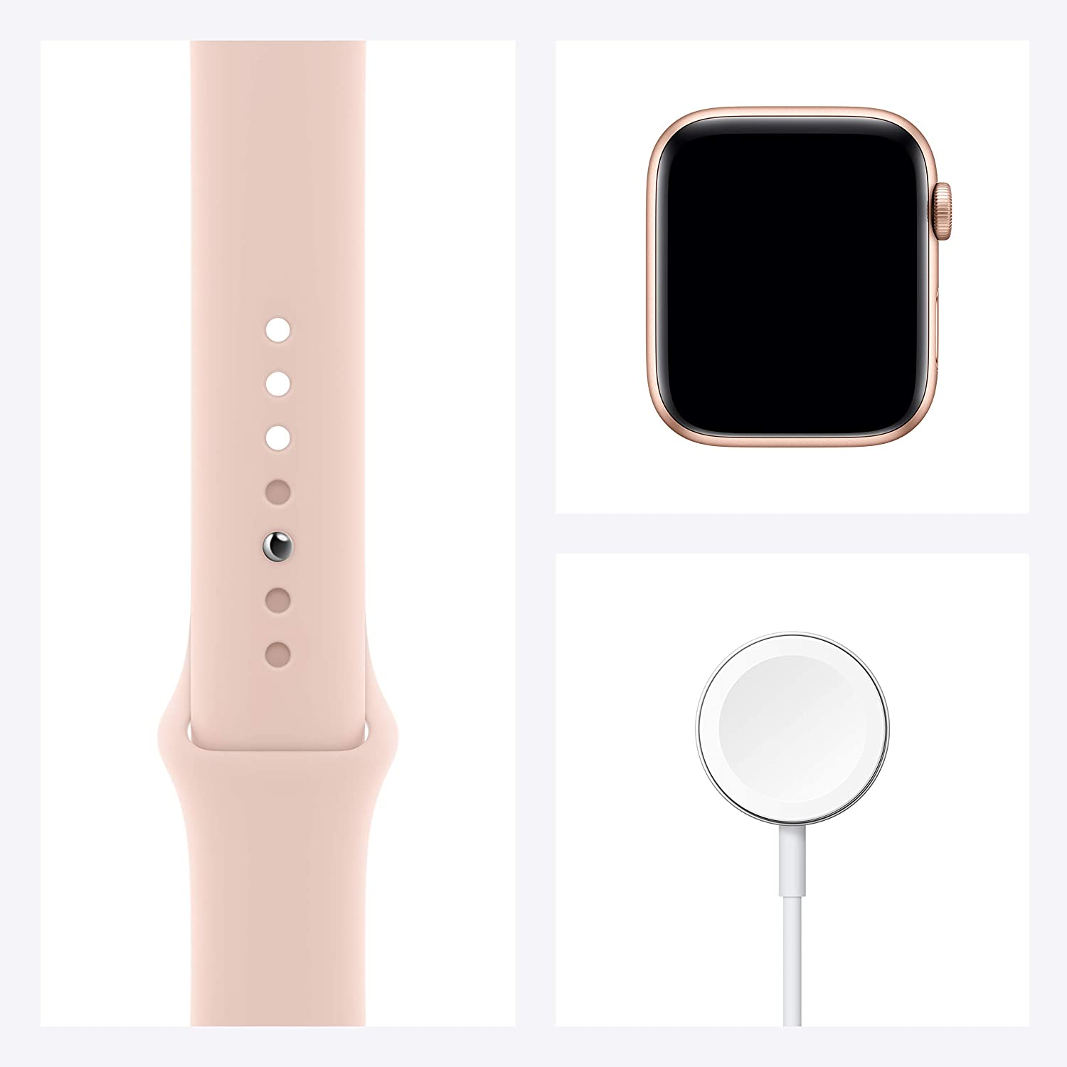 New Apple Watch SE (GPS, 44mm) - Gold Aluminium Case with Pink Sand Sport Band