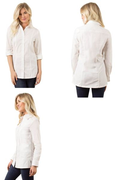 Simply Noelle Oxford Flex Top in White - Bendixen's Giftware