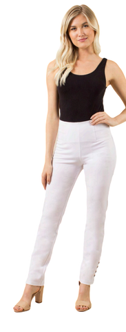 Simply Noelle Ponte Straight Button Pant in White