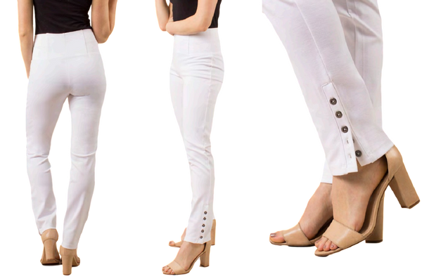 Simply Noelle Ponte Straight Button Pant in White - Bendixen's Giftware