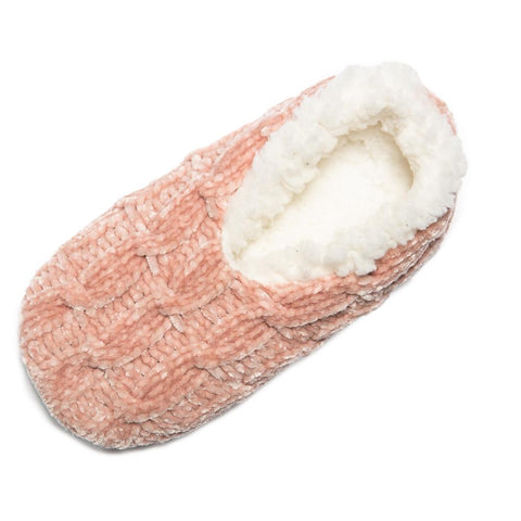 Top It Off Cheryl Chenille Lounge Slipper in Soft Pink - Bendixen's Giftware