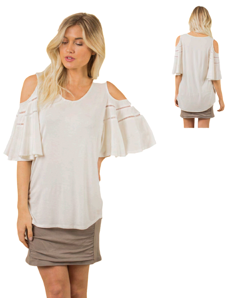 Simply Noelle Wingin' It Cold Shoulder Top - Bendixen's Giftware