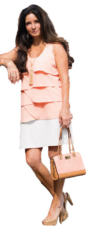 Simply Noelle Two Tone Wave Shift Dress in Pretty Pastel Colors - Bendixen's Giftware