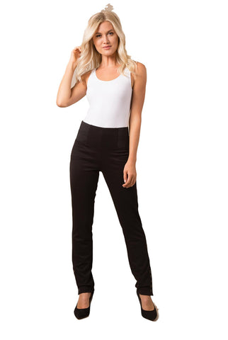 Simply Noelle Ponte Straight Button Pant in Black or White - Bendixen's Giftware