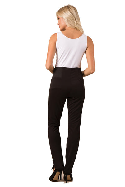 Simply Noelle Ponte Straight Button Pant in Black EVPNT3 - Bendixen's Giftware