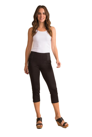 Ponte Cropped Button Pant in Black or White - Bendixen's Giftware