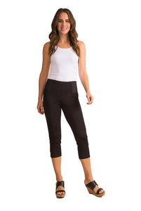 Simply Noelle Ponte Cropped Button Pants in Black or White - Bendixen's Giftware
