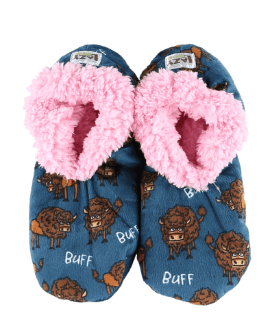Lazy One Buff Buffalo Fuzzy Feet Slippers, Choice of Two Sizes